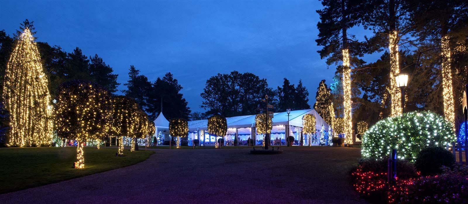 Garden Pavilion at night during Christmas
